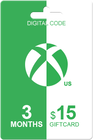 Xbox Live Gold 3 months + 15 USD